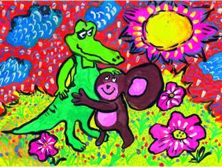 «C'est dans les moments difficiles qu'on reconnait nos vrais amis». Chigol Darina 8 ans, Atelier Artistique ACQUA, Slavutich, Ukraine. Commentaire de l'artiste: Si ton ami te laisse dans ton chagrin, il n'est pas un vrai ami.