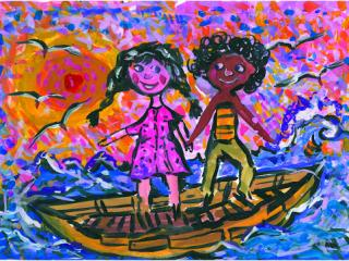«Les amis de mes amis sont mes amis». Yermakov Dima 6 ans, Atelier Artistique ACQUA, Slavutich, Ukraine. Commentaire de l'artiste: Si mes amis ont beaucoup d'amis, moi j'en aurai encore plus.