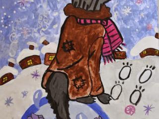 «Celui qui a quitté son ami dans le malheur se retrouvera aussi dans le malheur». Profatilova Sofia 11 ans. Atelier Artistique ACQUA, Slavutich, Ukraine. Commentaire de l'artiste: C'est comme dans le compte ou la maline renarde ment à son ami le loup et le fait pêcher des poissons avec sa queue. Elle en est punie à la fin.