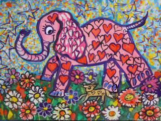 «Une petite amitié vaut plus qu'une grand dispute». Chigol Darina 8 ans, Atelier Artistique ACQUA, Slavutich, Ukraine. Commentaire de l'artiste: Un seul ami c'est déjà un bonheur.