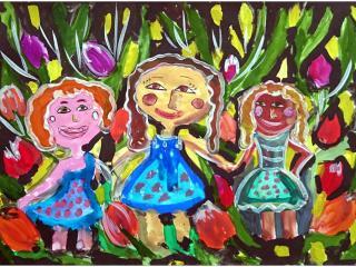 «L'amitié n'a pas de couleur»/ gouache  Anna SHOULGA,  10 ans, Atelier artistique «Acqua», Slavutich, Ukraine
