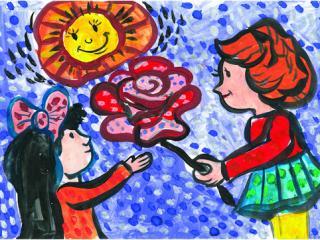 «Si tu prétends être ami, aide dans des moments difficiles». Orlova Sofia 7 ans, Atelier Artistique ACQUA, Slavutich, Ukraine. Commentaire de l'artiste: Il faut toujours aider son ami.
