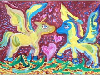 «L'Amitié est l'Amour sans ailes» George Gordon, Lord Byron»/ gouache  Darina Atamanenko, 6 ans, atelier artistique ACQUA, Slavutich, Ukraine Commentaire de l'artiste:  Mes chevaux sont à tel point amis, que les ailes ont poussé. On dirait les ailes d'amour.