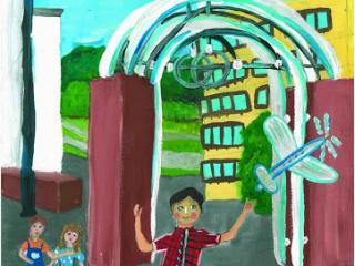 «Avec un bon ami on partage pain et loisir». Chvets Katerina 13 ans. Atelier Artistique ACQUA, Slavutich, Ukraine.