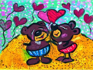 «Une vraie amitié est celle qui a vécu et survécu à des moments difficiles». Rylova Zlata 7 ans, Atelier Artistique ACQUA, Slavutich, Ukraine. Commentaire de l'artiste: On ne peut pas reconnaitre un vrai ami sans passer par difficultés.