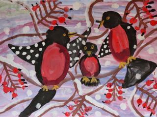 «Un bon ami est un vrai trésor». Valentey Alexandra 8 ans. Atelier Artistique ACQUA, Slavutich, Ukraine. Commentaire de l'artiste: Ma mère et mon père ont été de bons amis pendant longtemps. Après ils se sont mariés et je suis née. Je suis leur trésor.