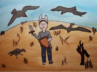«Seul dans les champs n'est pas un guerrier». Chernega Victoria  14 ans. Atelier Artistique ACQUA, Slavutich, Ukraine Commentaires de l'artiste: Sur mon dessin il y a un garçon dans le champ. Il tient dans ses mains une épée et un bouclier cassés, ses habits sont déchirés. C'est parce qu'il est tout seul, il n'a pas d'amis.