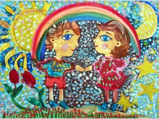 II ème prix (14 votes) – Olia GURIEVA, 6 ans, atelier artistique ACQUA, Slavutich, Ukraine. «Pourquoi le bonheur et les arcs-en-ciel ne sont-ils pas faits pour durer?»