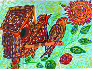 1 prix dans la catégorie « 10-13 ans ». «Le seul moyen d'avoir un ami c'est d'en être un». Lysenko Polina  10 ans. Atelier Artistique ACQUA, Slavutich, Ukraine. Commentaire de l'artiste: L'amitié demande beaucoup d'efforts. Il faut savoir céder, aider. Il faut traiter les amis comme on veut être traité soi-même.