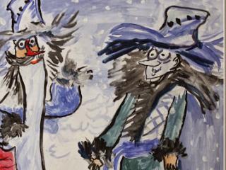 «En voyage on a besoin d'un compagnon de voyage, dans la vie on a besoin d'un ami». Khichkovskiy Igor 13 ans. Atelier Artistique ACQUA, Slavutich, Ukraine. Commentaire de l'artiste: C'est bien, quand les gens savent garder l'amitié pendant toute la vie. J'ai remarqué qu'au bout des années d'amitié les gens commencent à se ressembler physiquement.