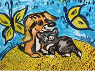 «Un vieil ami vaut plus que deux nouveaux». Atomanenko Darina 7 ans. Atelier Artistique ACQUA, Slavutich, Ukraine. Commentaire de l'artiste: Chez ma grand-mère il y a un chien et un chat. Ils sont de vieux amis. Moi, je suis leur vieille amie à eux.