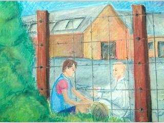 Anna PARAHINA, 14 ans, Ecole artistique de Neteshin, Ukraine. «Quand la guerre sépare les Amis»