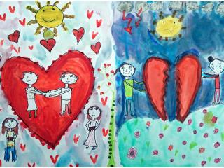 «Une vraie amitié est celle qui a vécu et survécu à des moments difficiles»/aquarelle, feutre  Anais VAESKEN, 8 ans, Ecole française de Slavutich, Ukraine