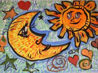 «L'amitié ne connait pas la distance». Bardakov Nazar 6 ans. Atelier Artistique ACQUA, Slavutich, Ukraine. Commentaire de l'artiste: Nous pouvons rester de bons amis malgré la distance qui nous sépare.