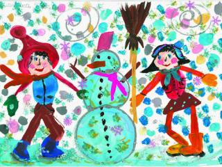 «Pour ton ami tu pourrais traverser une tempête de neige». Baglay Yana 8 ans, Atelier Artistique ACQUA, Slavutich, Ukraine. Commentaire de l'artiste: Avec des amis on est joyeux en hiver sous la neige, en automne sous la pluie. Qu'il fasse  froid ou chaud, on ne s'ennuie pas.